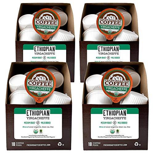 Fresh Roasted Coffee, Organic Ethiopian Yirgacheffe, Fair Trade Kosher, K-Cup Compatible, 72 Pods