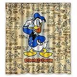 punk fmaily Disney Donald Duck Collage Polyester Badezimmer Duschvorhang strapazierfähiges Stoffzubehör kreativ mit 12 Haken 180X180CM