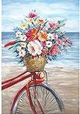 Pintura por números para adultos y niños Kit de pintura al óleo de bricolaje Flores para principiantes en una bicicleta junto al mar Kits sobre lienzo Acrílico Decoración de pared 40x50cm