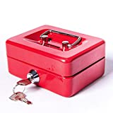Jssmst Small Cash Box with Lock and Slot Metal Coin Bank Piggy Bank for Adults and Kids, R...