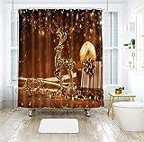 ANAZOZ Cortina de Baño de Poliester Cortina Baño Tela Impermeable Antimoho Ciervo con Bolas de Decoración de Navidad Marrón Oro Grueso(120g) Cortinas Baño 120x180CM