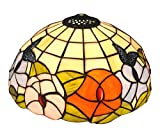 NOSHY Premium Tiffany Style Butterfly and Flower Stained Glass Table Replacement Lamp Shade,11-7/8 Inch Width, Only Lampshade, Exclude Accessories, Pack of 1