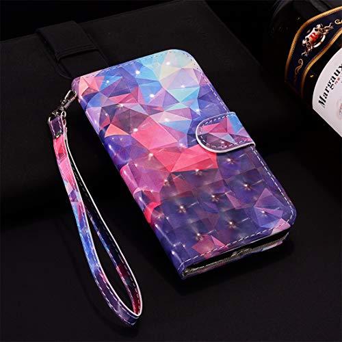 Funda para Huawei P30 de piel auténtica con diseño a cuadros, color 3D, diseño de cuadros, con tarjetero, correa, para Huawei P30