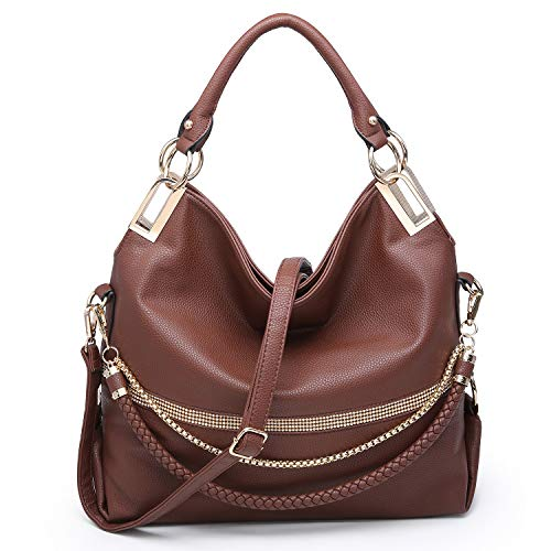Dasein Hobo Bags for Women Soft Faux Leather Purses and Handbags Large Hobo Purse Shoulder Bag with Rhinestones (Coffee)