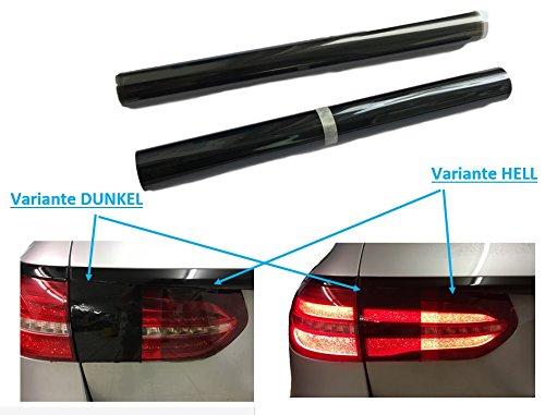 120x30cm SCHEINWERFER FOLIE – Hell oder Dunkel Schwarz für Auto PWK KFZ Fahrzeug – auch Rückleuchten/Rücklichter – SELBSTKLEBEND – Lichtdurchlässigkeit – (DUNKEL-Schwarz)