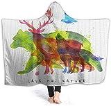 LiGHT-S Jeter la Couverture Alaska Animaux Ours Loup Motif couvertures pour Enfants Polaire Doux Chaud couvertures floues pour Les Adolescents Filles 80 W par 60 H Pouces (avec Capuche)