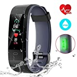 Fitness Tracker [Latest Version], CHEREEKI Color Screen Activity Tracker Smart Bracelet Waterproof IP68 Pedometer Watch 24-Hours Heart Rate Monitor/ 14 Sport Modes for Android & iOS (Black and Gray)