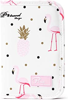Azarxis Travel Wallet Family Passport Holder Cover Case, Waterproof Ticket Document Organizer Card Holder with Zipper for Mobile Phone, Passports, Cards, Money, Pen (Pineapple Flamingo Powder - White)