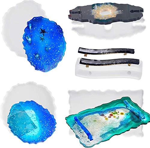 MSDADA Tablett aus Kunstharz Silikonformen, Große Kristall Epoxid Gießharzformen DIY-Tablett Weinregalgriff mit 2 Untersetzern und Silikongriffform Silikonformen für Bar Küche Heimdekoration