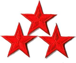 刺繍ワッペン アイロンパッチ ミニ星スター 3個セット NO-5530 (レッド)