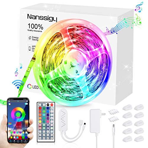 LED Streifen,8m LED Strips Lights 5050 RGB Farbwechsel LED Band, Sync mit Musik, dimmbar, 16 Mio. Farben, Steuerbar via App und IR Fernbedienung, für Zuhause, Bett, Schlafzimmer,TV, KücheDeko
