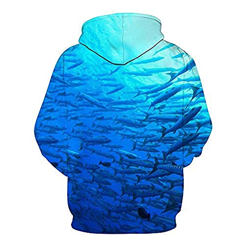 yyqx container Pulls Hoodies d'impression 3D Poissons Bleus en Plein air Couples Sweatshirts avec Kangaroo Pocket-XL