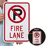 SmartSign 3M Engineer Grade Reflective Sign, Legend 'Fire Lane' with Graphic, 18' high x 12' wide, Black/Red on White