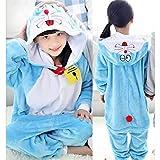 Stitch Overalls Jumpsuit Kids Children Animal Cosplay Costume Onesie Blanket Sleepers Pajamas Hyococ (Color : Doraemon, Size : 5)