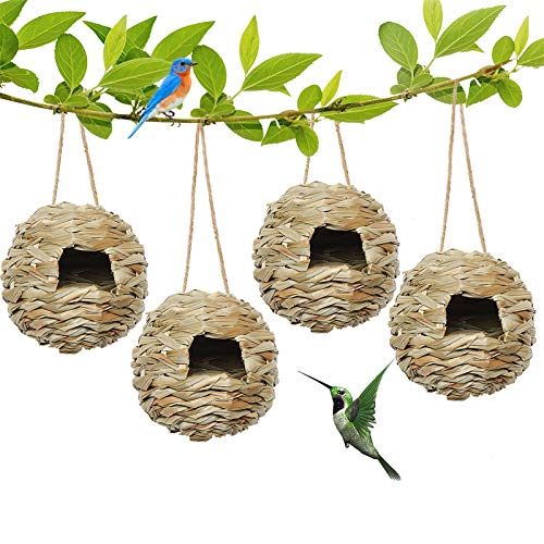 AQUEENLY Hummingbird Houses for Outside Hanging, Set of 4 Hand Woven...