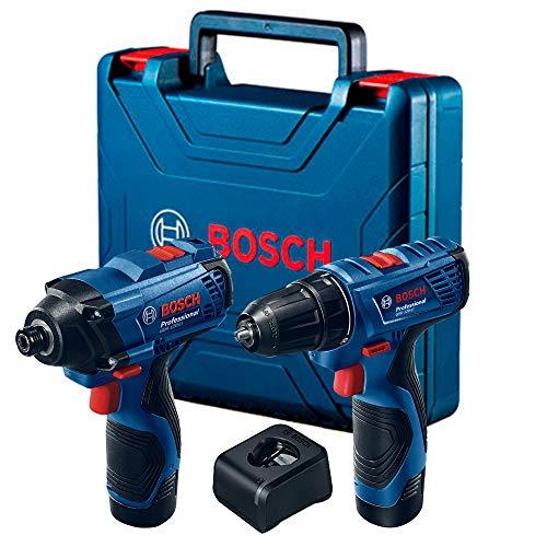 Combo Bosch 12V - Chave de Impacto GDR 120-LI + Parafusadeira e Furadeira de Impacto GSB 120-LI, 2 Baterias, Carregador BIVOLT em Maleta