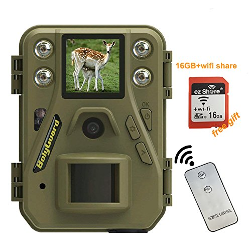 Bolyguard WiFi Wireless Trail Game Camera 12MP 720P HD Infrared Hunting Camera with Night Vision Motion Activated Outdoor Deer Surveillance Camera IP65 Waterproof & WiFi SD Card (SG520-W)