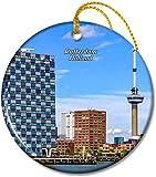 Holland Euromast Tower Adornos de Rotterdam Adorno navideño Redondo de cerámica de 2,8 Pulgadas Pandent para Familiares y Amigos