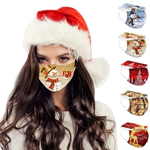 SOMESUN 50 Stück Einweg Mundschutz für Erwachsene Multifunktion Weihnachtsmaske Bandana Weihnachten Muster Druck Bandana Einweg 3-lagig Atmungsaktiv Halstuch Schals
