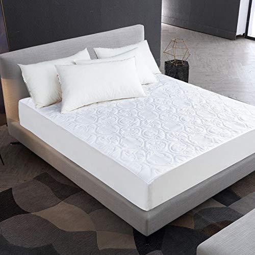 ZJXSNEH 2021 Protector de colchón Impermeable Acolchado en Relieve de Color sólido Funda de Estilo de sábana Ajustable para colchón Almohadilla Suave Gruesa para Cama,Talla 180X200+30cm
