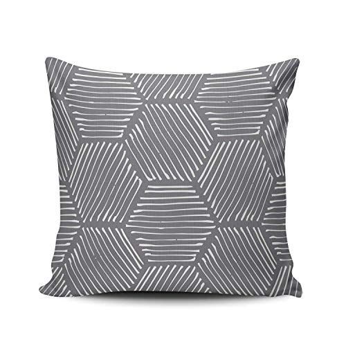 GOSMAO Funda de Almohada Hexágono Abstracto Geométrico Algodón Lino Throw Pillow Case Funda de Almohada para Cojín 45x45 cm