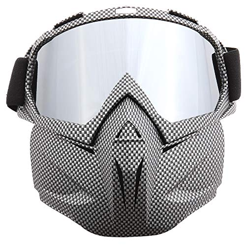 SPOSUNE Motorcycle Goggles Detachable Face Mask, ATV Dirt Bike Off Road Racing Motocross MX Riding...