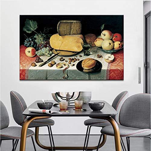 Traditionele stilleven poster en prints muurkunst canvas schilderij fruit en brood restaurant decoratief schilderwerk frameloos
