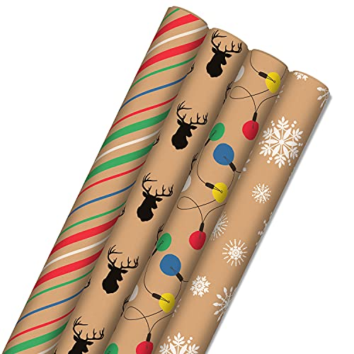 Hallmark Recyclable Christmas Wrapping Paper for Kids with Cut Lines on Reverse (4 Rolls: 88 sq. ft. ttl) Kraft Brown with Christmas Lights, Deer, Snowflakes, Red, Green, Blue Stripes