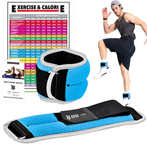 Bona Fitness Adjustable Ankle Weights with Reflective Trim/2-5lbs (1 Pair) Durable Ankle Wrist Weights Set with Strap/Best for Walking, Jogging, Gymnastics Arm Leg Weights (Blue)