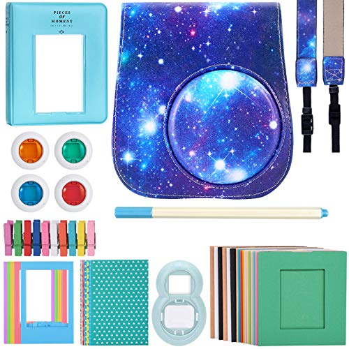 Katia Instant Camera Accessories Bundle Compatible for Fujifilm Instax Mini 9 / Mini 8+ / Mini 8 Instant Film Camera. Includes Camera Case, Album, Frame, Stickers, Strap,etc - Galaxy