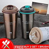 Keelorn 500ML Thermos Mug Coffee Cup with Lid Thermocup Seal Stainless Steel vacuum flasks Thermo mug for Car Water Bottles : 500ml, AQW891 black