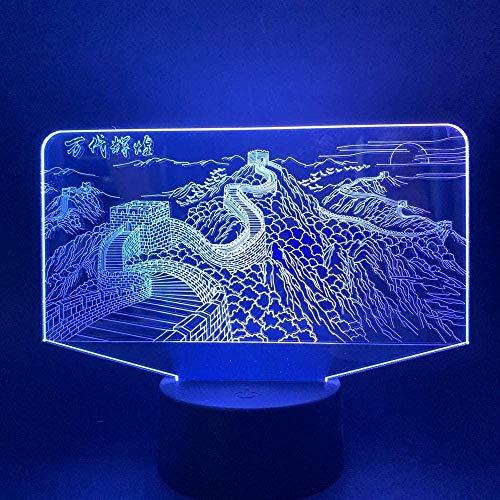 Lámpara 3D de ilusión con 7 colores de animales, personajes de pared china, 3D, luz nocturna, sueño, luz USB, fuente de alimentación flash para decoración de cumpleaños, mando a distancia y tacto