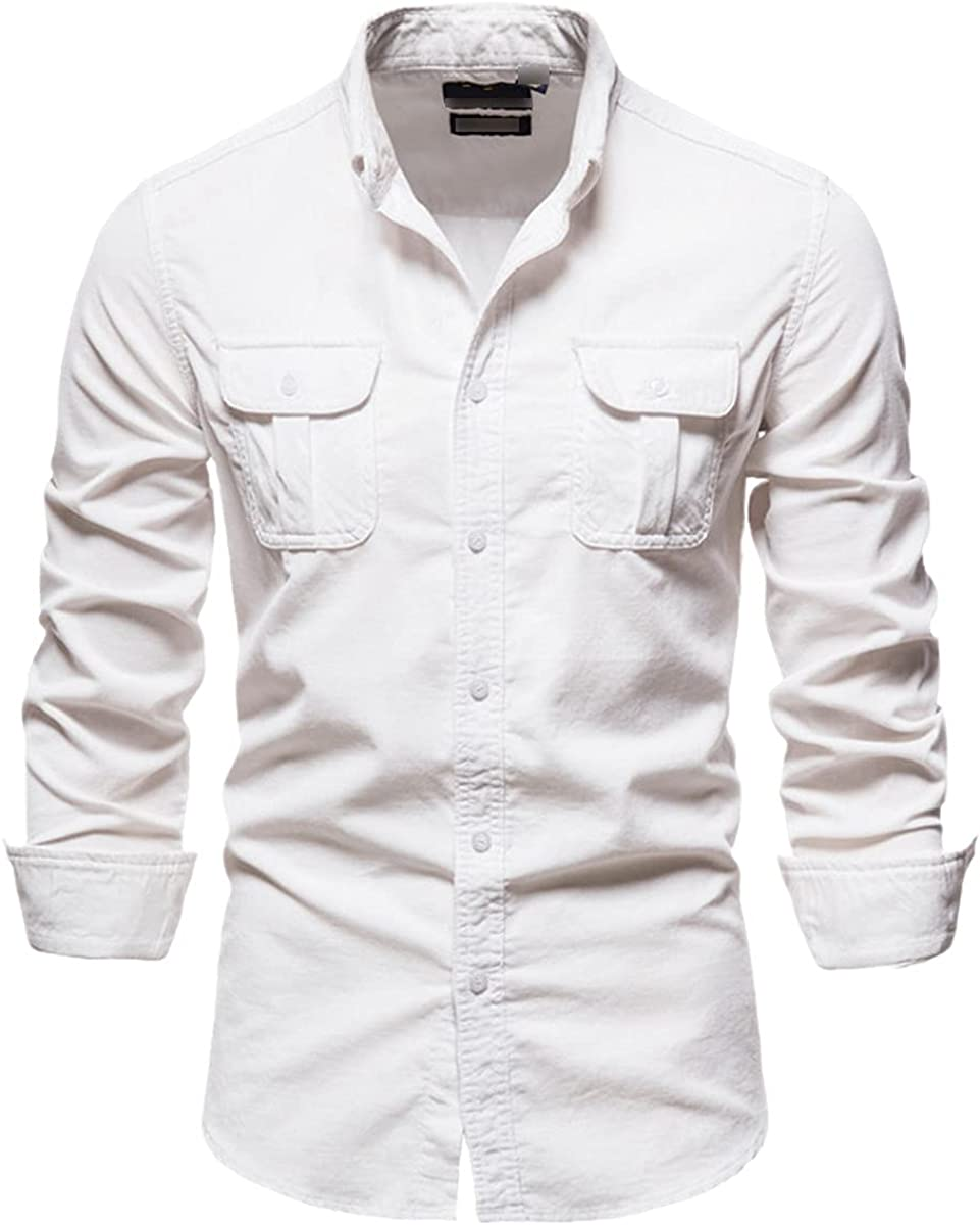 Single-Breasted Pure Cotton Men's Shirt Business Casual Solid Color Corduroy Shirt Autumn Slim Shirt