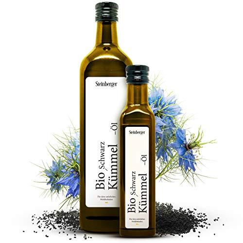 Premium Schwarzkümmelöl Bio von Steinberger | kaltgepresst, gefiltert und 100% naturrein | 750 ml Glasflasche | gewonnen aus echtem Schwarzkümmel (Nigella Sativa) aus biologischem Anbau in Ägypten