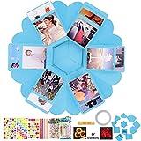 QAQGEAR Hexagon Surprise DIY Surprise Gift Box Surprise Photo Box Love Memory Handmade Album Scrapbooking con 6 caras Fiesta de cumpleaños de Navidad, novio (conjunto azul)