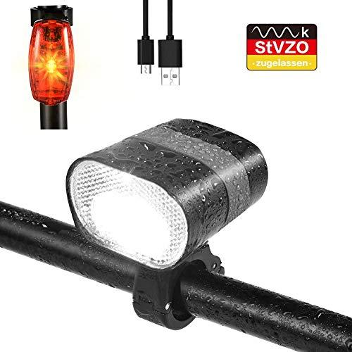 careslong LED Fahrradlicht Set, 680 Lumen IPX6 USB Wiederaufladbare Fahrradbeleuchtung, Das Rücklicht kann den Akku Nicht Aufladen, StVZO Zugelassen für Fahrrad