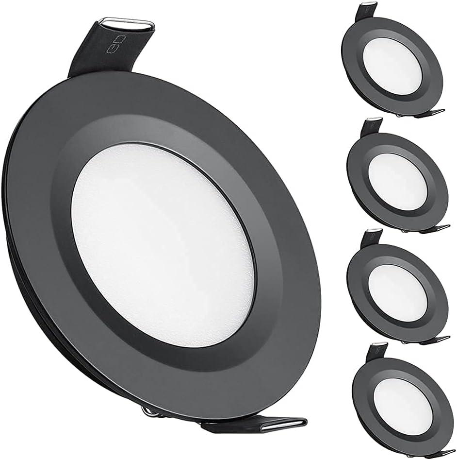 acegoo 4 x Foco Empotrable 12V LED Luz de Techo Downlight 3W Negro para Autocaravana Caravana Barco Camper Furgoneta Cocina Baño, 240LM Blanco frío 6400K