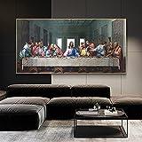 Impresión en lienzo 50x100cm sin marco Leonardo da Vinci- Pinturas sobre lienzo de la última cena en el arte de la pared Arte famoso Jesús Cuadro de pared Decoración del hogar