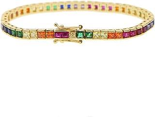 ATJMLADY 17cm Square Rainbow Colorful cz Tennis Bracelet for Women 17cm Gold Plated