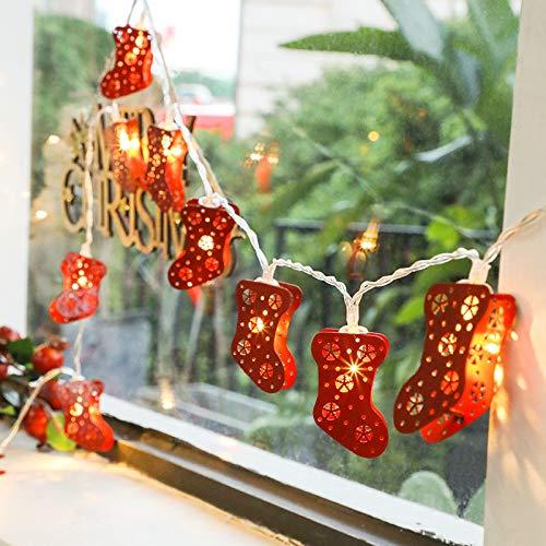 ACHICOO 10 LED's, 20 LED's, 1 m/3 m, kerstkous in de vorm van een kous voor decoratie buitenshuis, licht snoer, rode sokken, batterij 1 m en 10 lampen (altijd licht)