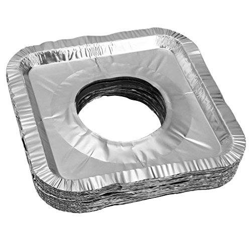 Aprince Stove Burner Covers, 60 Pieces Aluminum Foil Square Gas Stove Burner Covers, Disposable Thicker Bib Liners Covers for Gas Top, 8.7' x 8.7'