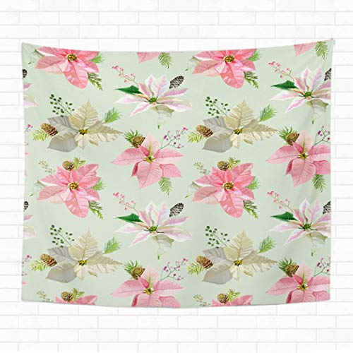 Awowee Tapestry Wall Hanging Watercolor Flower Vintage Poinsettia Christmas Pattern Winter Berry Bloom 130x150cm/50 x60 Home Decor Tapestries Wall Blanket for Dorm Living Room Bedroom