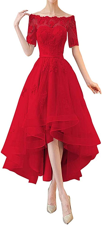 Ai Maria Women's Bridal Half Sleeves High Low Prom Dresses 1 2 Sleeves Off Shoulder Bridesmaid Dress Appliques