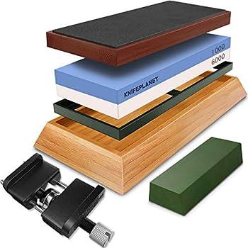PREMIUM WHETSTONE SET- Dual Grit Stone SET 1000/6000 Bamboo Base Leather Honing Strop Leather Razor Strop Polishing Compound and Honing Guide