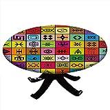 Mantel redondo con bordes elásticos, elementos collage en cuadrados coloridos figuras simbólicas aborígenes, diseño primitivo, para mesas de hasta 132 cm de diámetro, multicolor
