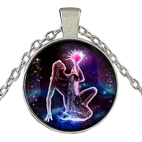 Dunbasi 12 Sternbilder Sternzeichen Kette Nachtleuchtend Glas Cabochon Edelstein Horoskop Anhänger Silber Halskette für Frauen Herren Geburtstag Geschenk (Wassermann)