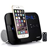 VELOUR apple Lightning Speaker Dock Charge Play for iphone 8,8plus, 7,7plus, 6,6S,6Plus, 5,5S,SE, with Bluetooth FM Radio Clock Alarm Snooze USB Out to Charge any USB Device[Apple MFi Certified]