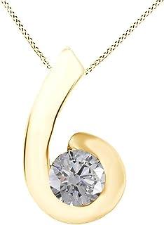 Vacanze Vendita Bianco Naturale Diamante Solitario Collana 14K Oro massiccio (0,25 Cttw)