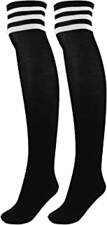 FALETO Women's Cotton Triple Stripe High Tights Over Knee Socks Thigh High Stockings