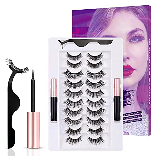 Magnetic Eyelashes with Eyeliner Kit, 10 Pairs Reusable Magnetic Lashes, Upgraded False Lashes Kit with Lash Tweezers Inside, Suitable for Daily Wedding Party (10 Pairs)